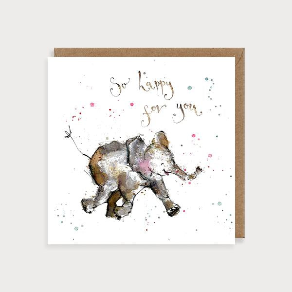 Image of illustrated card with an elephant and the caption so happy for you