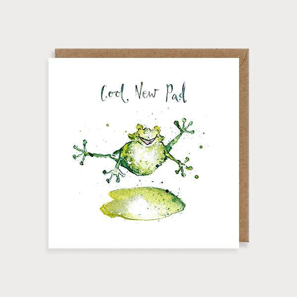 Image of ilustrated new home card with a frog jumping off a lily pad and the caption Cool New Pad