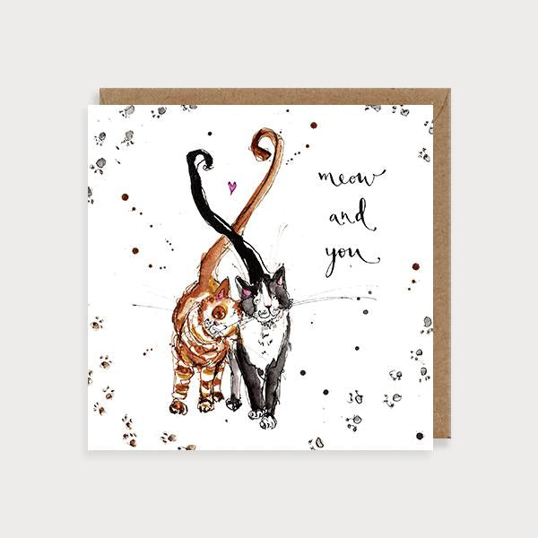 Image of illustrated love card with two cats and the caption Meow and You