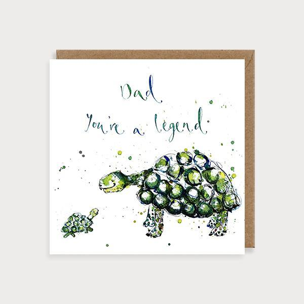 Image of illustrated father's day card with a big and baby turtle and the caption Dad You're a Legend