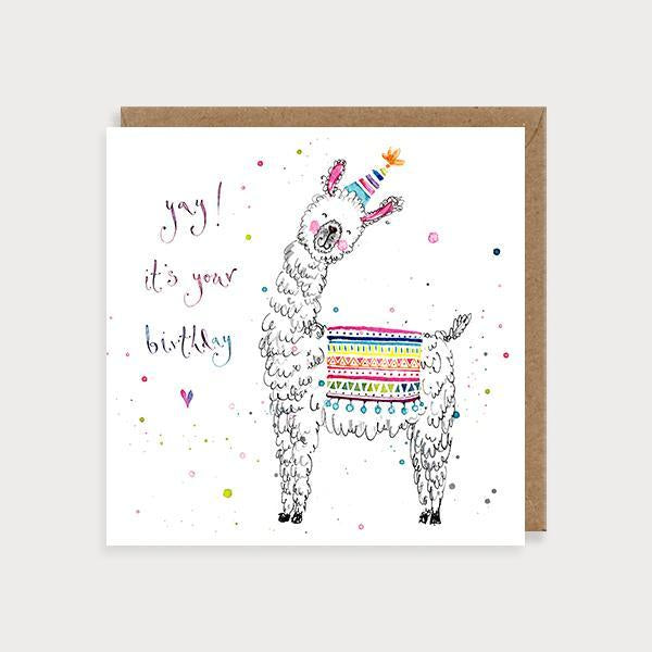 Image of illustrated birthday card with a llama wearing a party hat and the caption Yay! ItÕs Your Birthday