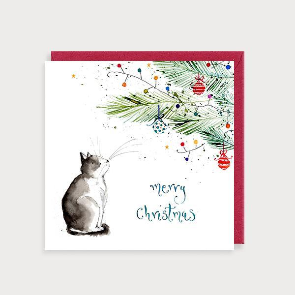 Image of illustrated christmas card with a cat under a Christmas Tree and the caption Merry Christmas