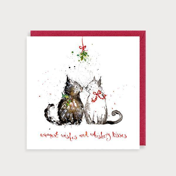 Image of illustrated christmas card with 2 cats kising and the caption Warmest Wishes and Whiskery Kisses