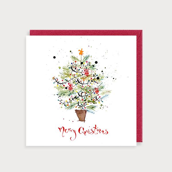 Image of illustrated christmas card with a Christmas Tree and the caption Merry Christmas