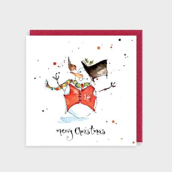 Image of illustrated christmas card with a snowperson and robin and the caption Merry Christmas