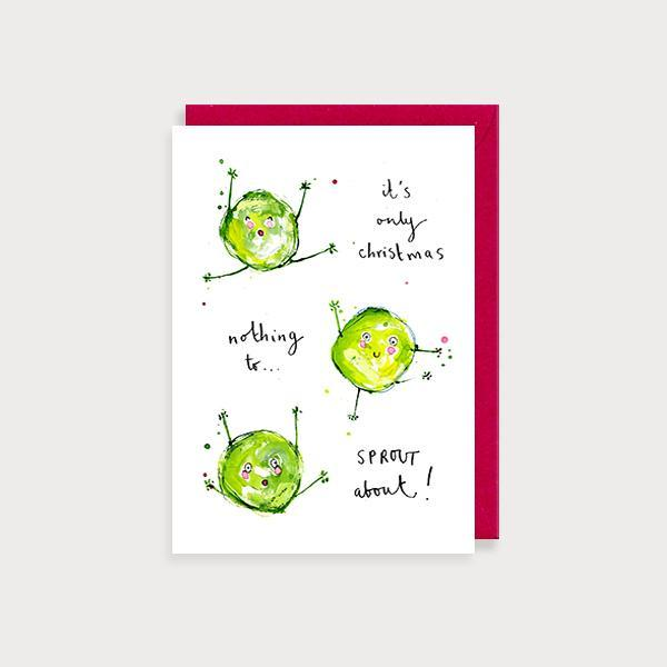 Image of illustrated christmas card with 3 brussel sprouts and the caption It's only Christmas Nothing to Sprout About!