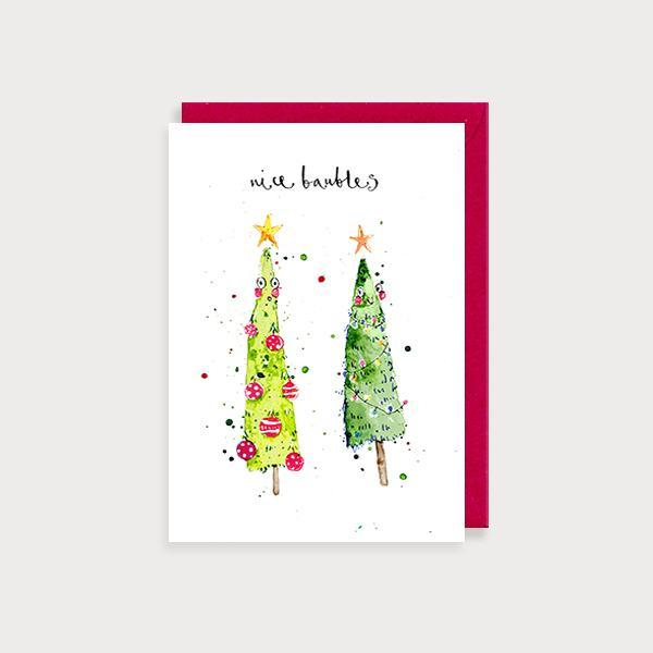 Image of illustrated christmas card with 2 blushing christmas trees and the caption Nice Baubles