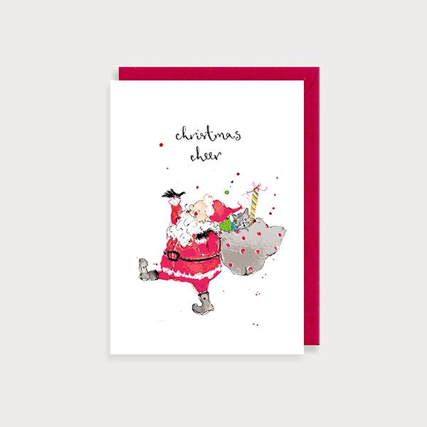 Image of illustrated christmas card with Santa carrying a sack and the caption Christmas Cheer