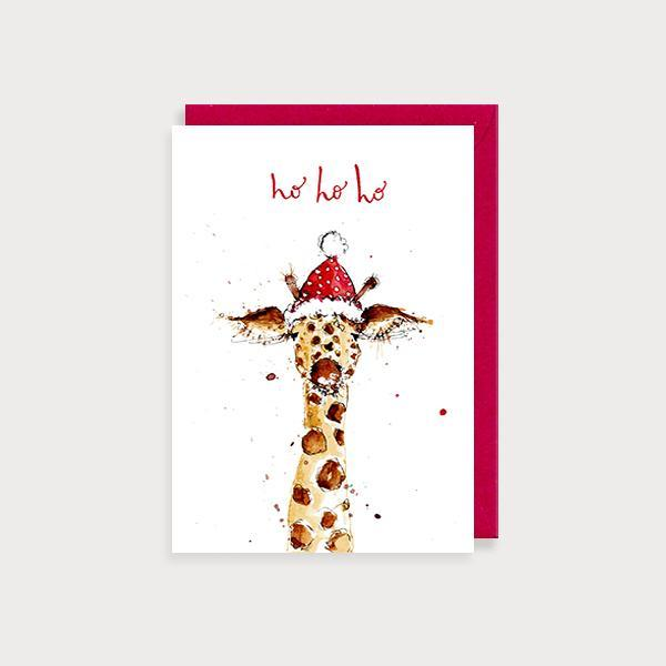 Image of illustrated christmas card with a giraffe in a Santa hat and the caption Ho Ho Ho