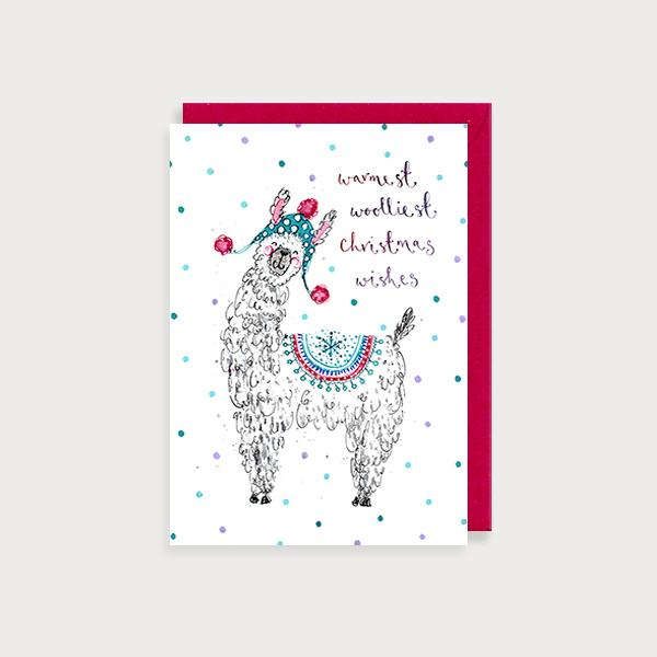 Image of illustrated christmas card with a llama in a woolly hat and the caption Warmest Wooliest Christmas Wishes