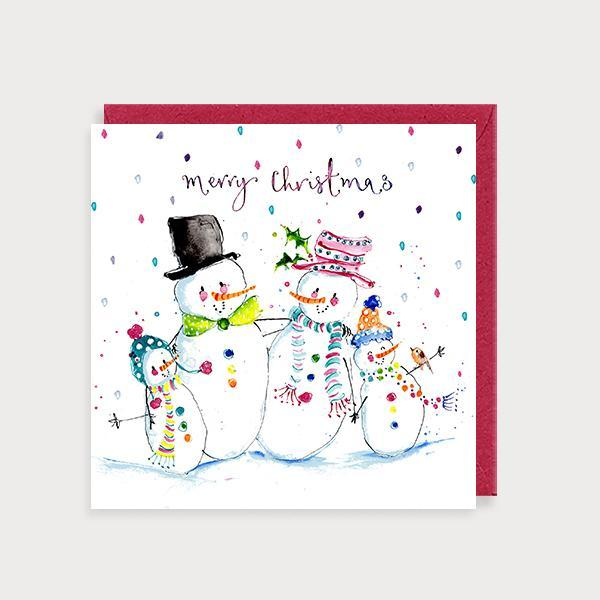 Image of illustrated christmas card with a snowfamily of four and the caption Merry Christmas