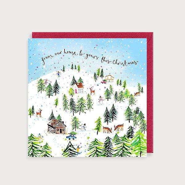 Image of illustrated christmas card with a winter snow scene and the caption From our House to Yours this Christmas