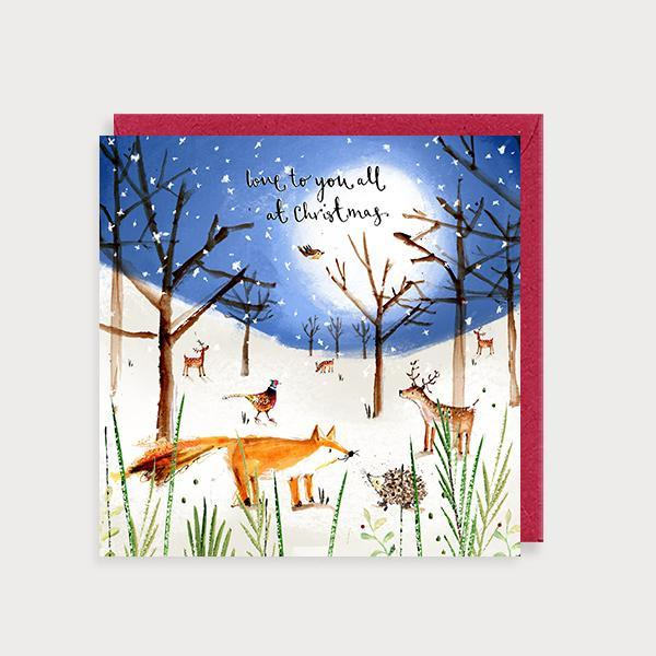 Image of illustrated christmas card with woodland animal snow scene and the caption Love to you all ar Christmas