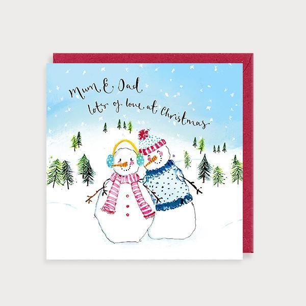 Image of illustrated christmas card with 2 snowpeople in a snow scene and the caption Mum & Dad Lots of Love at Christmas