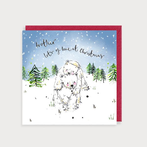 Image of illustrated christmas card with 2 polar bears playing and the caption Brother Lots of Love at Christmas
