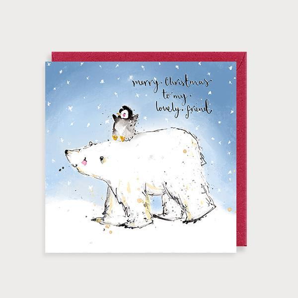 Image of illustrated christmas card with a polar bear and penguin and the caption Merry Christmas to my Lovely Friend
