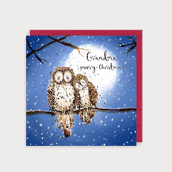 Image of illustrated christmas card with 2 owls on a branch at night and the caption Grandma Merry Christmas