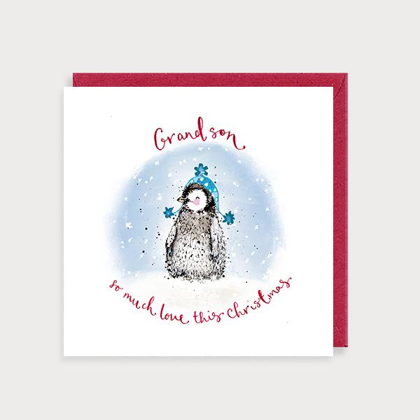 Image of illustrated christmas card with a penguin in a woolly hat and the caption Grandson so much Love This Christmas