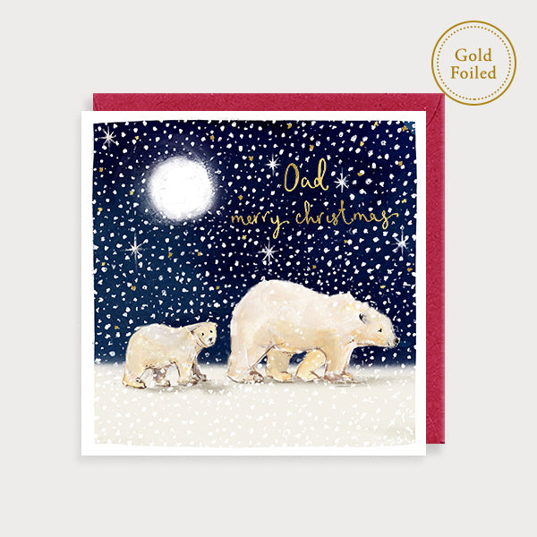 Image of illustrated christmas card with 2 polar bears in the snow and the caption Dad Merry Chroistmas at Christmas in goild foiling
