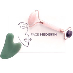 Rose Quartz and Amethyst Facial Roller with Jade Gua Sha Tool