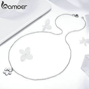 Silver Cute Animal Footprint Necklace by Bamoer