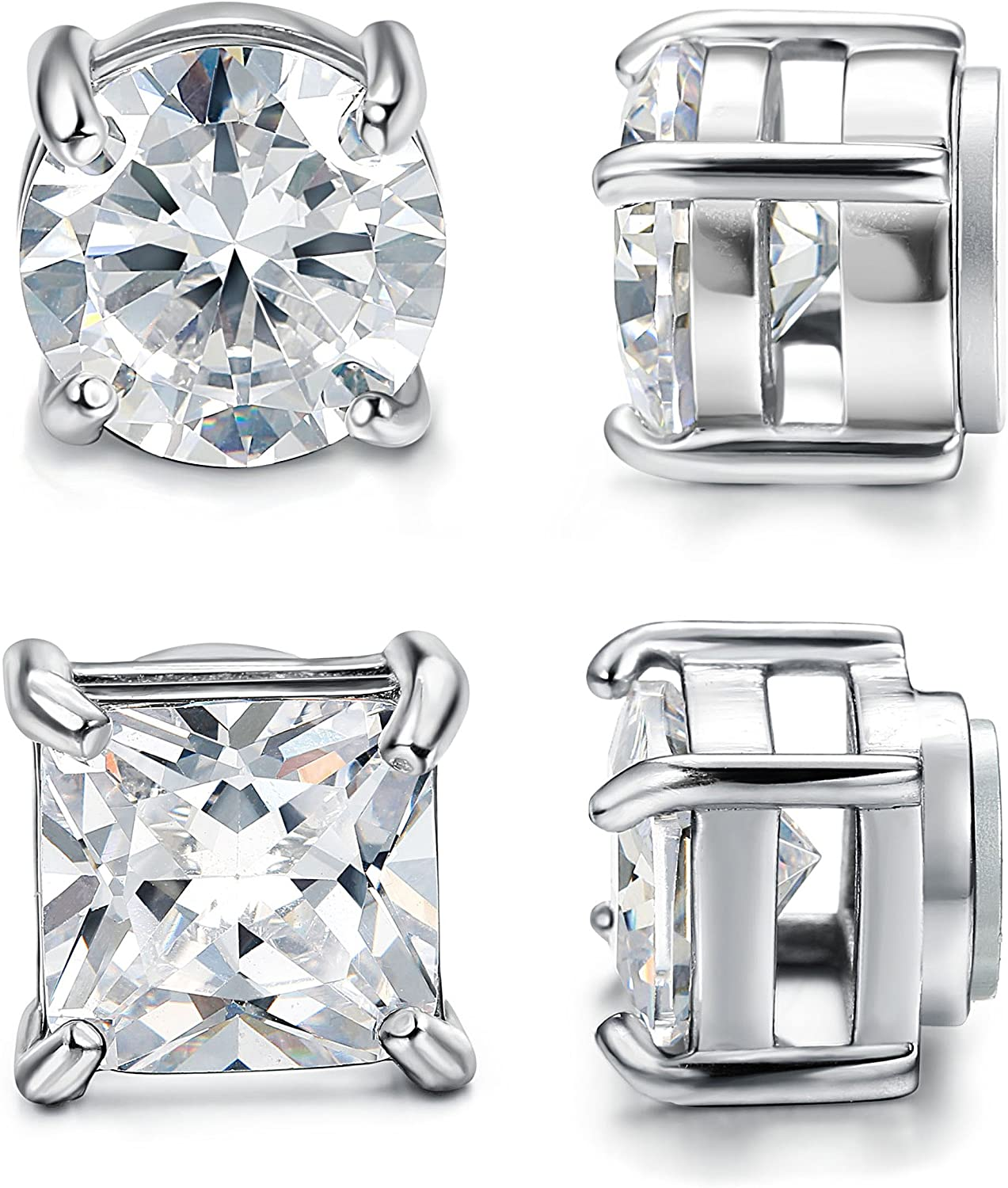 2-pair Magnetic Cz Diamond Stud Earrings (1-3 Carats) - Unisex @ Sons of Odin™ - Men's Jewelry on