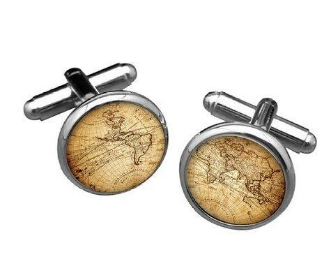 etnecklace Vintage Silver World map Men Cufflinks