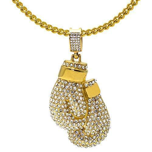 Iced-Out 18K Gold Boxing Gloves Pendant Necklace with CZ Diamonds - Hip Hop Jewelry for Men