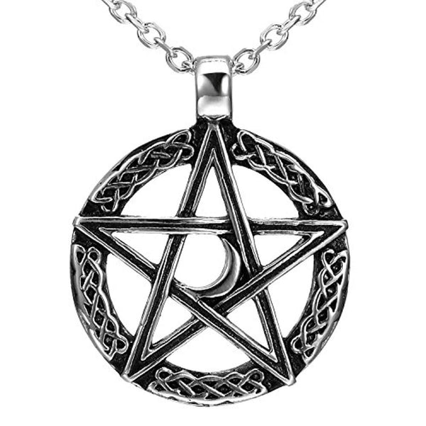 Urban Jewelry Vintage Style Pentacle Pentagram Crescent Moon Stainless Steel Pendant Necklace for Men (21-inch Chain)