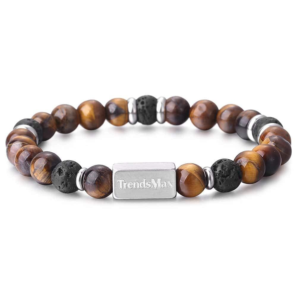 Trendsmax Set of 2 Tiger Eye Stone Braided Leather Bracelet Mens Boys Natural Lava Stone Stainless Steel Curb Chain Adjustable Stretch Surfer Wristband