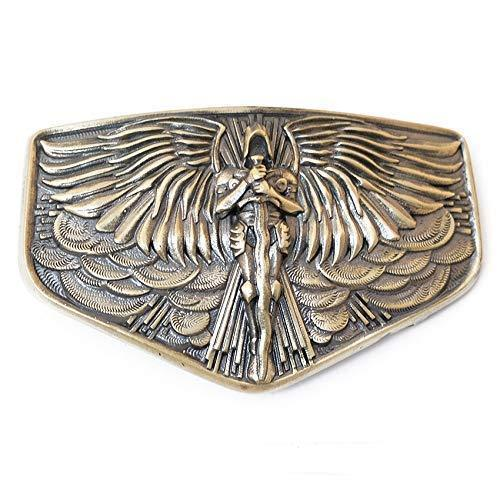 Archangel Michael belt buckle, Christian San Miguel solid brass belt bukle