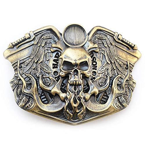 Belt buckle Route 66, Handmade biker solid brass belt buckle with motorcycle and skull
