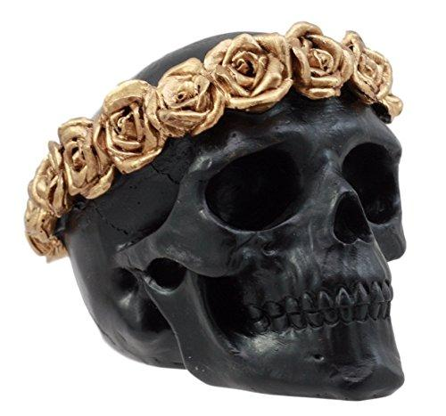 "Ebros Gift Day of The Dead Copper Rose Laurel Black Skull Figurine DOD Flower Wreath Sugar Skull Decor 4.25""L - SonsofOdin Co Goth Viking Biker Jewellry"
