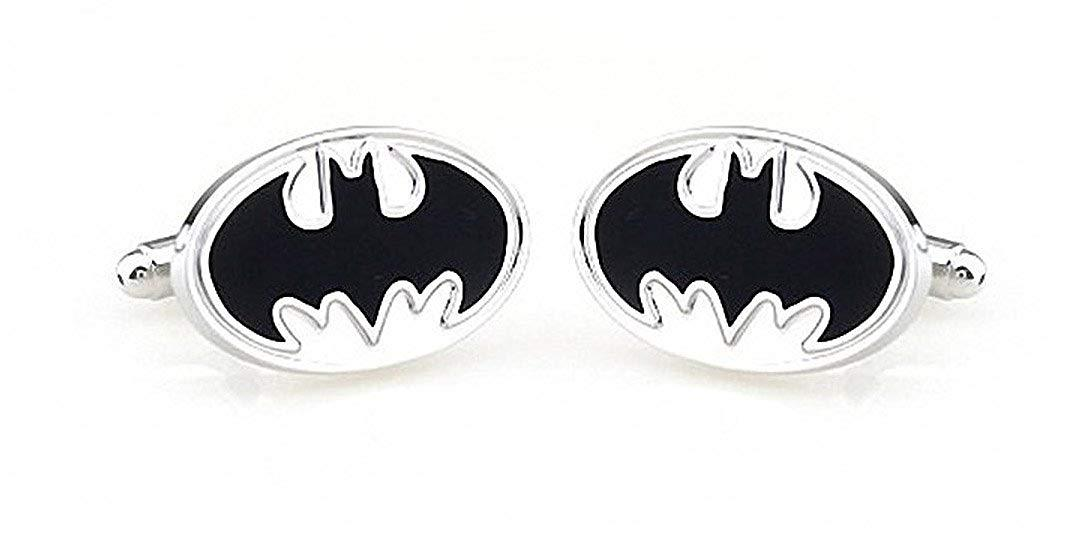 Round Superhero Batman Men's Rhodium Plated Wedding Business Cufflinks One Pair