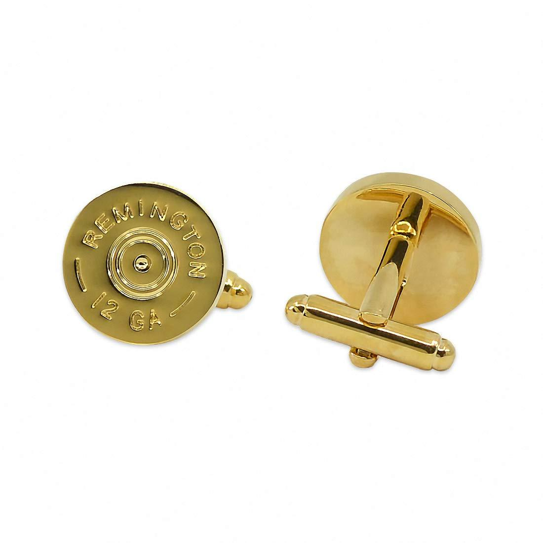"The Masonic Exchange Remington 12 Gauge Shotgun Shell Gold Cufflink Set - 5/8"" Diameter"