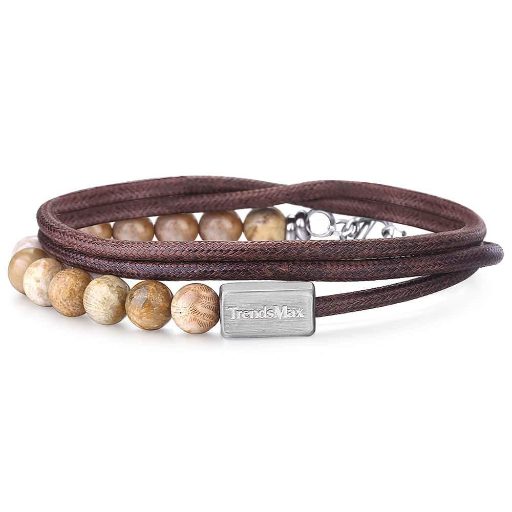 Trendsmax Natural Chrysanthemum Stone Leather Bracelet (unisex) Multi Layer @ Sons of Odin™ - Men's
