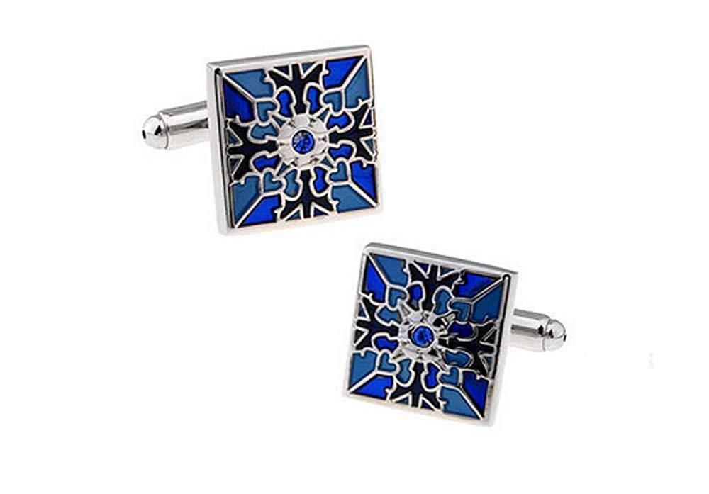Fashion2Beauty FB Blue Color Polish Stainless Steel Cufflinks for Gentleman Father's Day Gift Choince