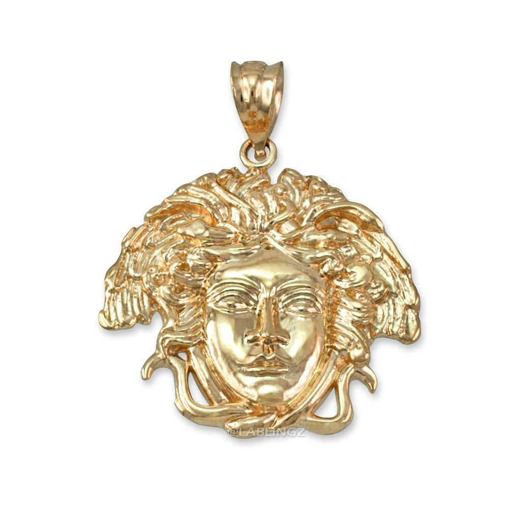 Hip-Hop Jewelry by LA BLINGZ 10K Yellow Gold Medusa Pendant (S/M/L)