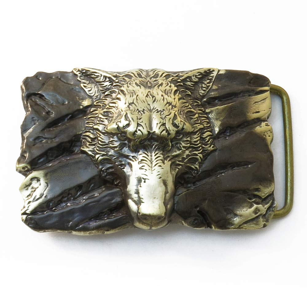 Belt buckle Fenrir Wolf, Handmade Old Norse Scandinavian viking mithology werewolf solid brass belt buckle