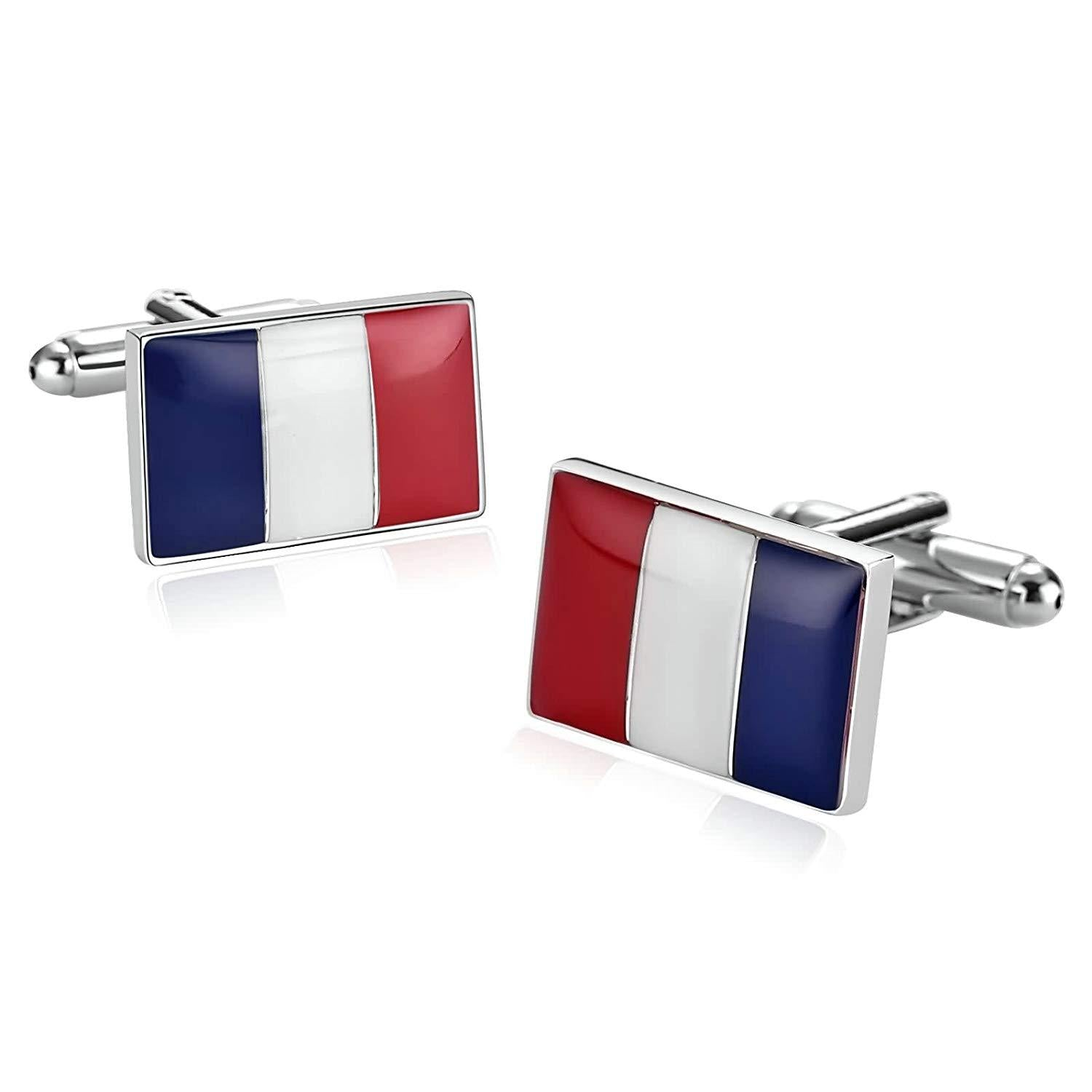 Beydodo Cufflinks Vintage Stainless Steel Cufflinks French Flag Cufflinks for Young Men