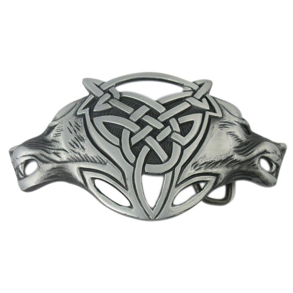 Celtic Viking Knotwork Double Fox Head Belt Buckle - SonsofOdin Co Goth Viking Biker Jewellry