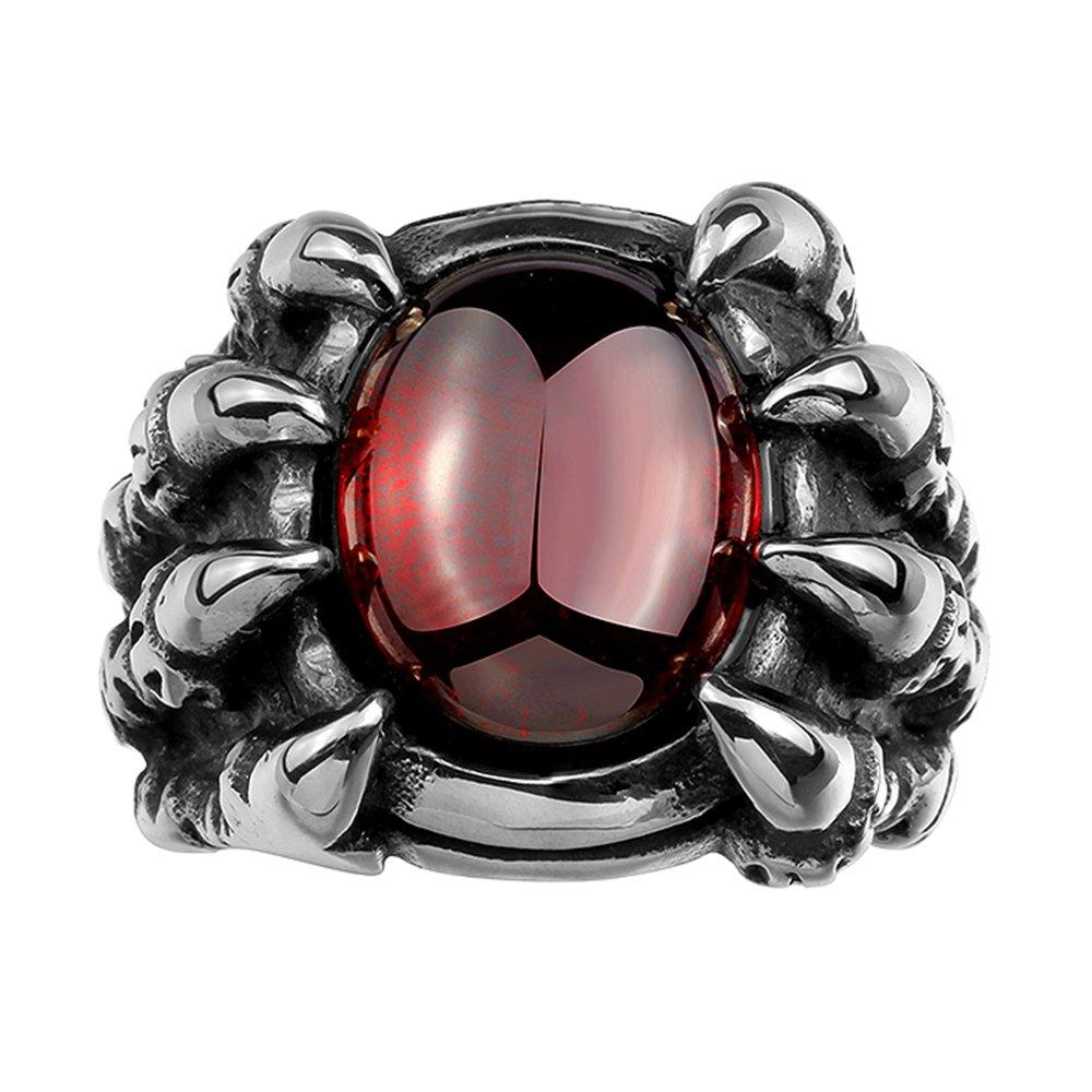 IVYRISE Gothic Vintage Stainless Steel Cool Wolf Dragon Claw Devil Eye Ruby Red Trendy Ring
