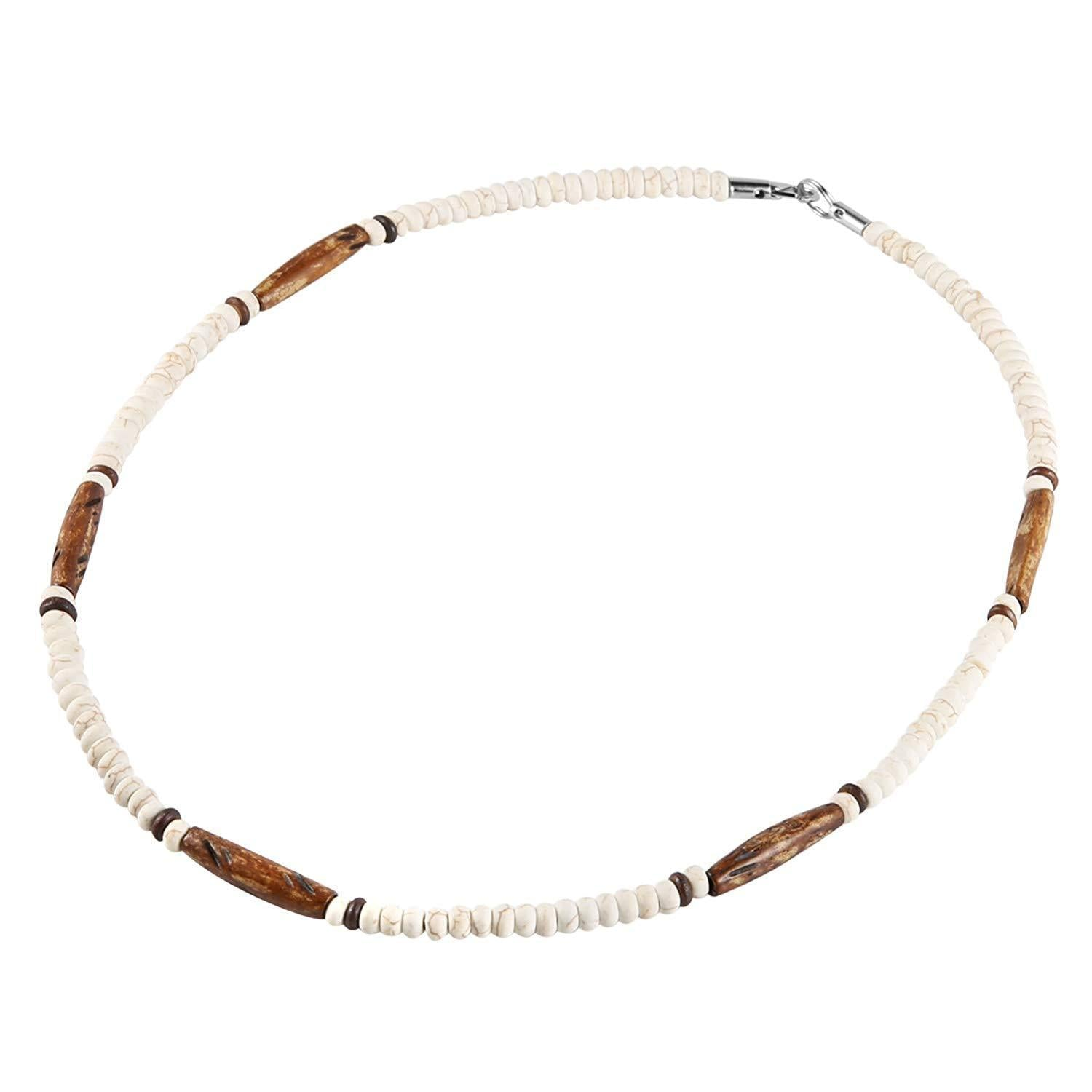 HZMAN Buffalo Bone Native American Inspired Tribal Style Collar Choker Necklace