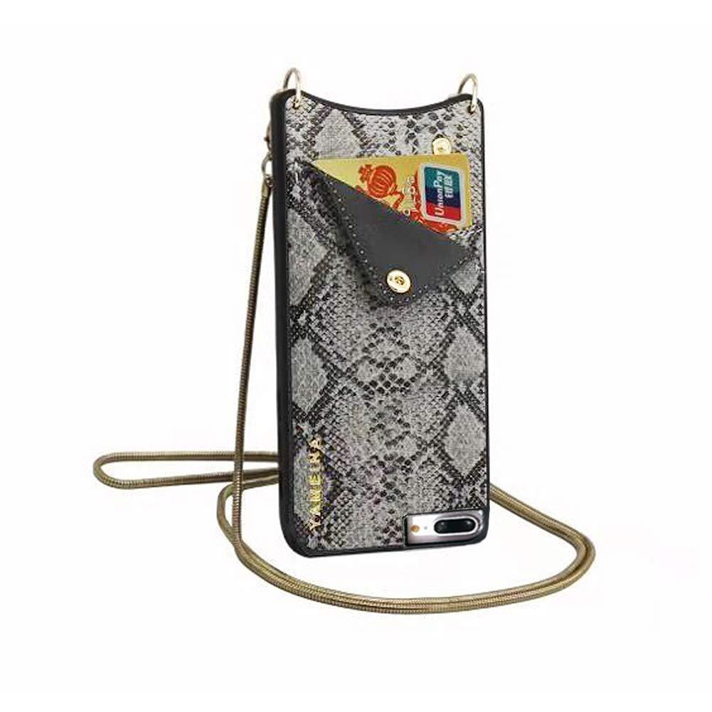 Temai Leather Wallet Purse Phone Case Compatible for iPhone 7 Plus & 8 Plus & 6 Plus & 6s Plus with Gold Studs Crossbody Strap Handsfree for Women Girls