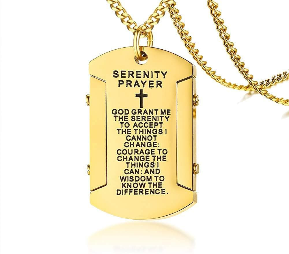 "PJ Jewelry Mens Stainless Steel Christian Bible Verse Prayer Cross Military Dog Tag Pendant Necklace with 24"" Chain"