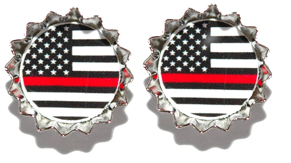 Firefighter's Remembrance Flag Thin Red Line Mini Bottle Cap Cuff Links (CAP016f)