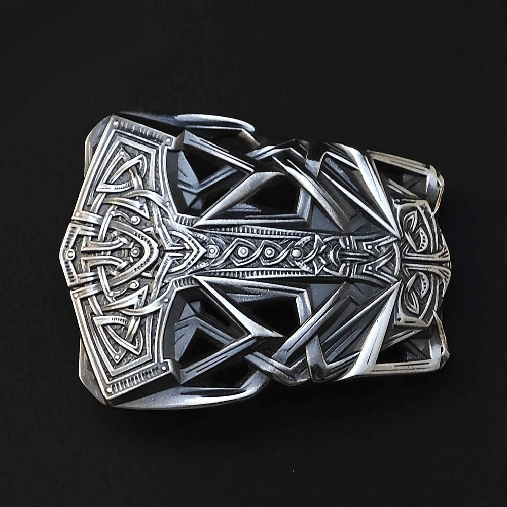 Thor's Hammer Sterling Silver belt buckle, Scandinavian Old Norse Mjolnir solid 925 Sterling Silver belt buckle, Viking Age god's silver weapon