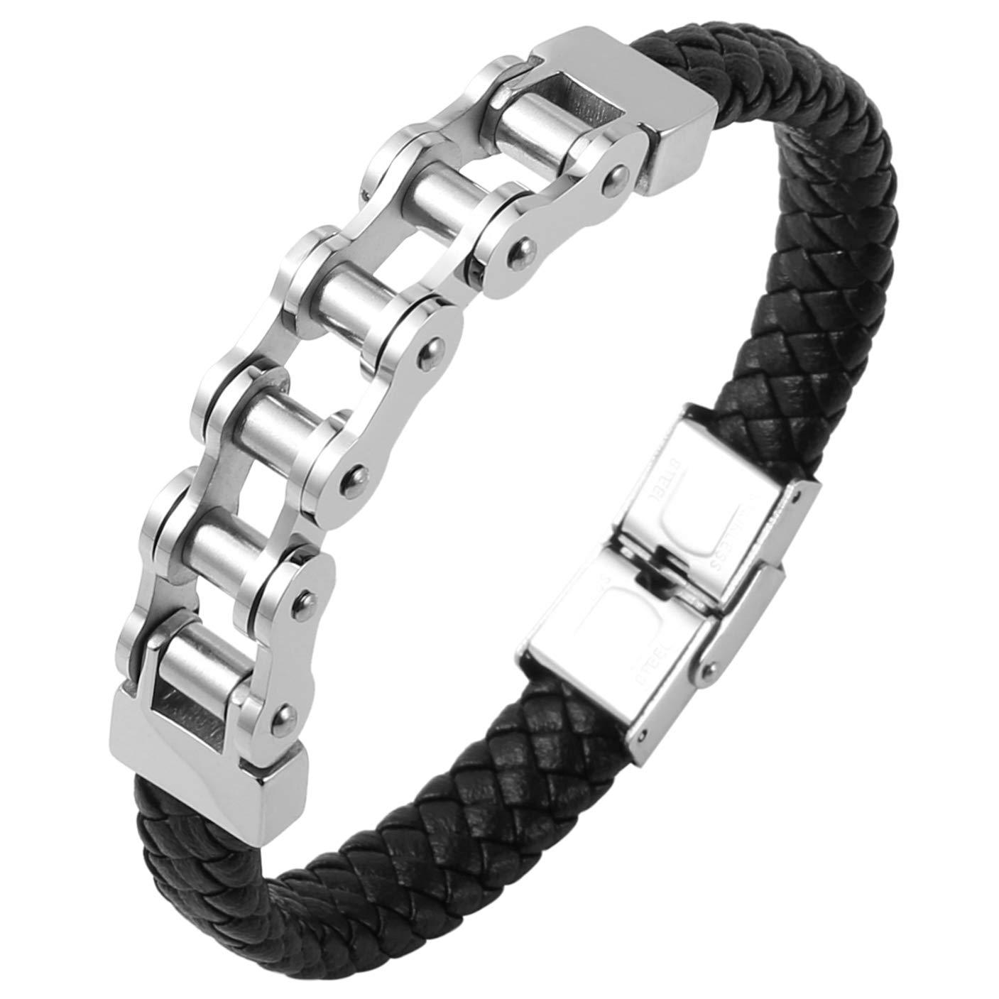 HZMAN Genuine Leather Bracelet Stainless Steel Bicycle Chain Punk Biker Mens Bracelet, 9 Inches