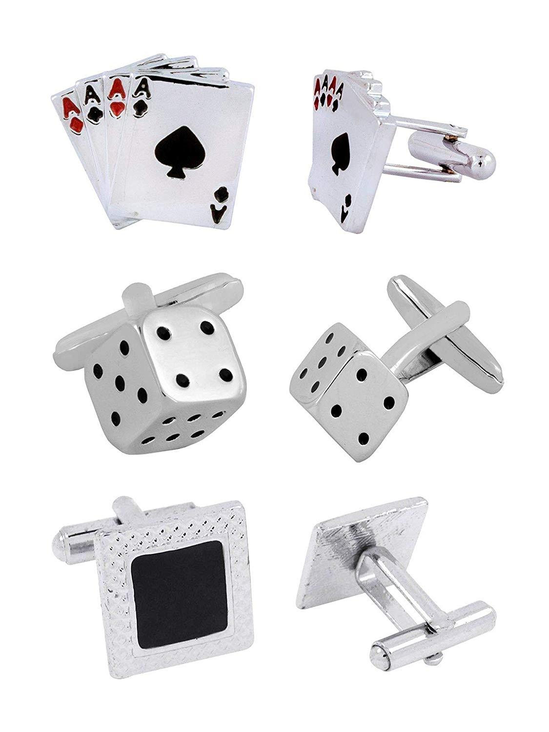 The Jewelbox Dice A Cards Rhodium Plated Enamel Brass Red Black 3 Pair Cufflink Combo Boys Mens