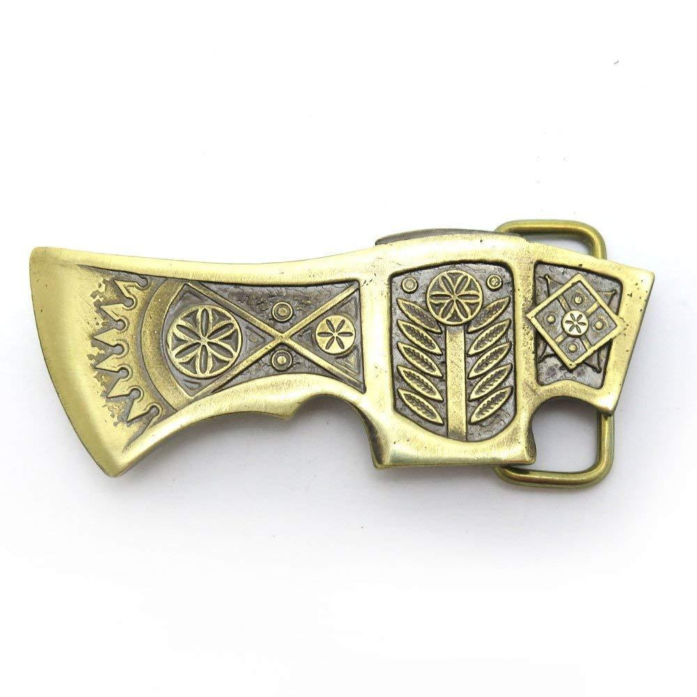 Ax belt buckle, Old Norse axe, Runic Medieval solid brass ax buckle